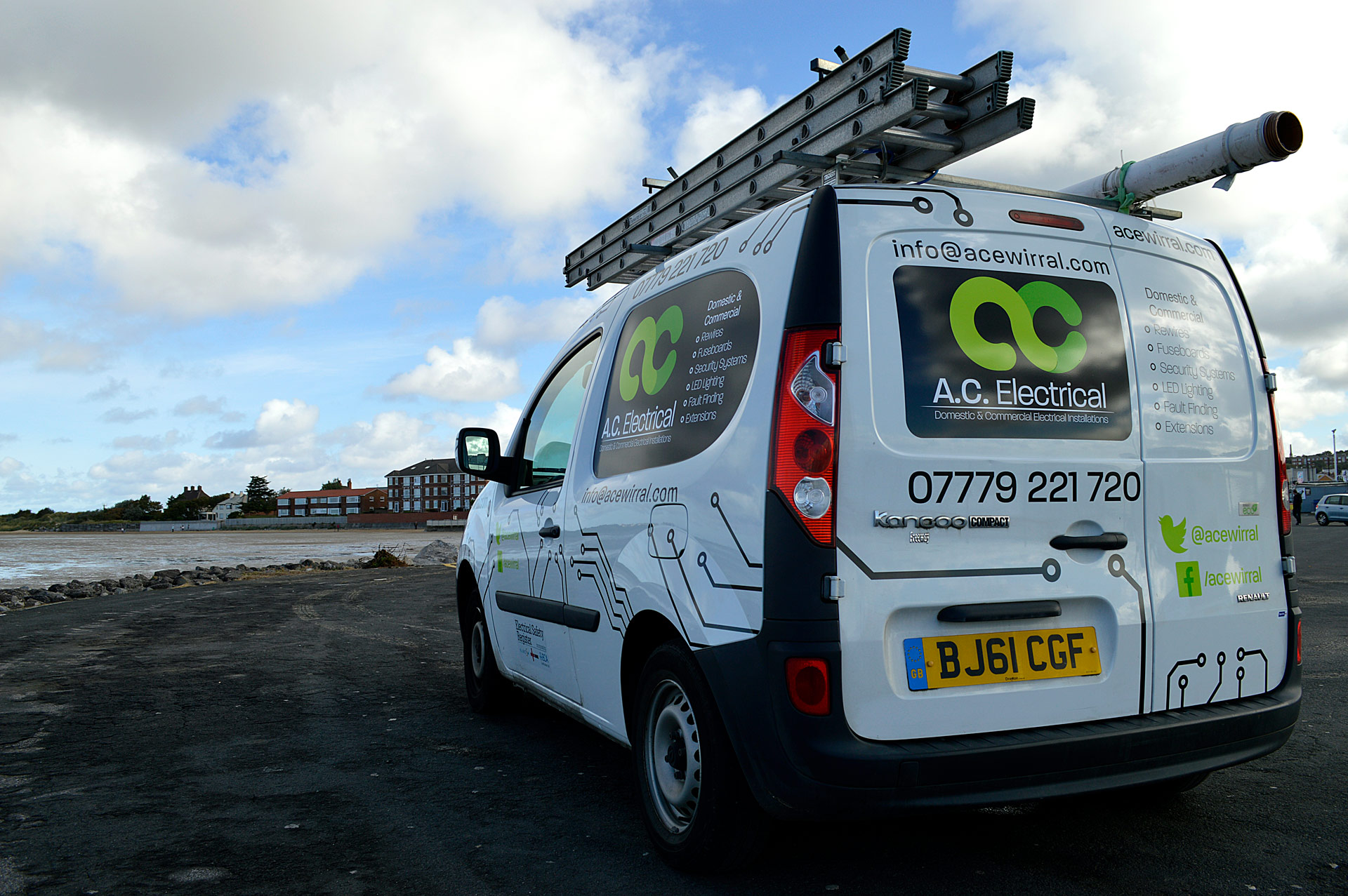 Work van overlooking west kirby seafront
